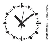 clock hand drawn vector icon | Shutterstock .eps vector #340604042