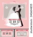 wedding invitation set.flat... | Shutterstock . vector #340604855