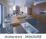 neoclassical kitchen design... | Shutterstock . vector #340620308