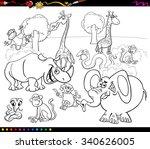 black and white cartoon vector... | Shutterstock .eps vector #340626005