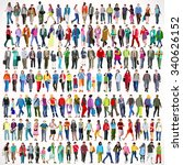 urban people color silhouette... | Shutterstock . vector #340626152