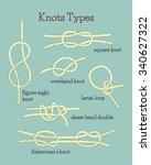 visual guide for knots tying... | Shutterstock .eps vector #340627322