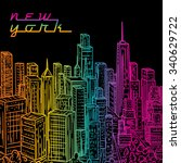 New York. Vintage Colorful Han...