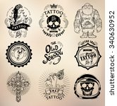 set vector tattoo studio logo... | Shutterstock .eps vector #340630952