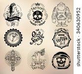 set vector tattoo studio logo... | Shutterstock .eps vector #340630952