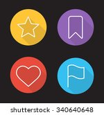 tags and marks linear icons set....