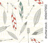 seamless tribal pattern with... | Shutterstock .eps vector #340647002