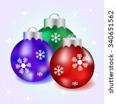 red  purple and green new years ... | Shutterstock .eps vector #340651562