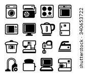 household appliances icons set... | Shutterstock .eps vector #340653722