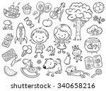 Doodle set of objects from a child's life including pets, toys, food, plants and things for sport and creative activities | Shutterstock vector #340658216