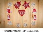 wooden christmas figurines... | Shutterstock . vector #340668656