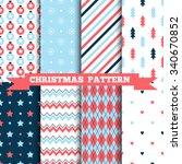set of seamless christmas... | Shutterstock .eps vector #340670852