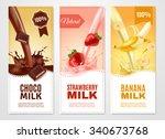 sweet milk vertical realistic... | Shutterstock .eps vector #340673768