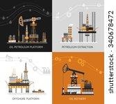 oil platform design concept set ... | Shutterstock .eps vector #340678472