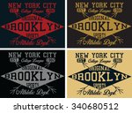 new york college vector print... | Shutterstock .eps vector #340680512