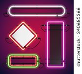 neon lights rectangle frames... | Shutterstock .eps vector #340685366