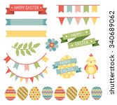 happy easter graphic elements... | Shutterstock .eps vector #340689062