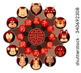 chinese zodiac wheel with... | Shutterstock .eps vector #340692308