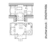 two storey floor plan. vector... | Shutterstock .eps vector #340694486
