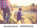 father and baby spending time... | Shutterstock . vector #340696166