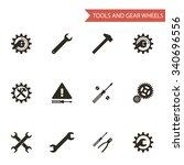 flat design style black tools... | Shutterstock . vector #340696556