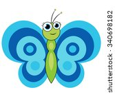 vector cartoon butterfly... | Shutterstock .eps vector #340698182