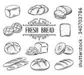 hand drawn decorative bread... | Shutterstock .eps vector #340703786