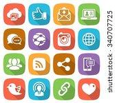 trendy flat social network icon ... | Shutterstock .eps vector #340707725