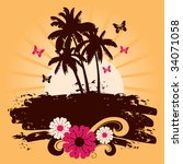 summer background with palms ... | Shutterstock .eps vector #34071058