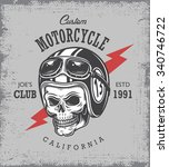 vintage motorcycle print with... | Shutterstock .eps vector #340746722