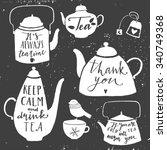 vintage set of kettle for tea.... | Shutterstock .eps vector #340749368