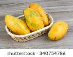 Ripe Yellow Mango In The Baske...