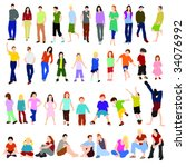lots of men women and children... | Shutterstock .eps vector #34076992
