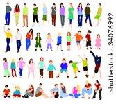 lots of men women and children... | Shutterstock .eps vector #34076992