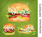 set of classic burger  bbq and... | Shutterstock .eps vector #340781072