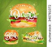 set of classic burger  bbq... | Shutterstock .eps vector #340781072