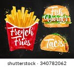 set of french fries  fish... | Shutterstock .eps vector #340782062