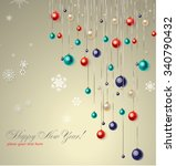 christmas background with blue... | Shutterstock .eps vector #340790432