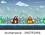 seamless cartoon landscape with ...
