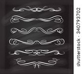 set of elegant white flourishes ... | Shutterstock .eps vector #340793702
