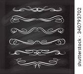 set of elegant white flourishes ... | Shutterstock .eps vector #340793702