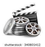 movie film disk with tape and... | Shutterstock .eps vector #340801412