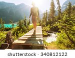 hiking man in the mountains | Shutterstock . vector #340812122