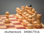 wooden chess board and pieces... | Shutterstock . vector #340817516