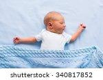 newborn baby boy in bed. new... | Shutterstock . vector #340817852