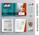 blue brochure template design... | Shutterstock .eps vector #340819892