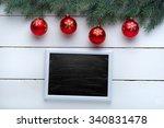 beautiful wooden christmas... | Shutterstock . vector #340831478