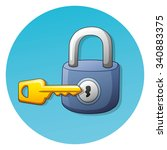 key and a padlock round icon. | Shutterstock .eps vector #340883375