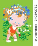baby in a lush wreath on her... | Shutterstock .eps vector #340893782