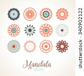 set of 12 vector mandalas.... | Shutterstock .eps vector #340902122